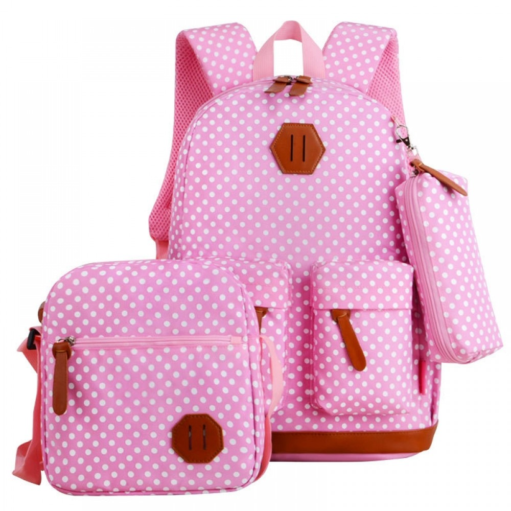 3pcs Women's School Campus Backpack Travel Polka Dots Rucksack Large Capacity