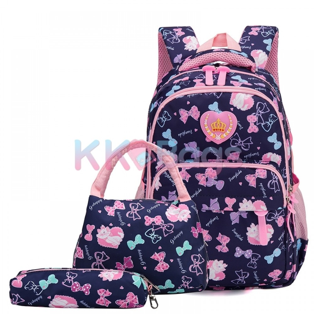 Girls School Bags Polka Dot 3pcs Backpack Kids Book Bag Lunch Bags Purse For Teen Girls