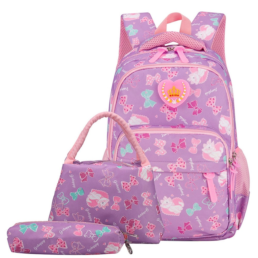 e0a638af7ddc Girls School Bags Polka Dot 3pcs Backpack Kids Book Bag Lunch Bags Purse  for Teen Girls
