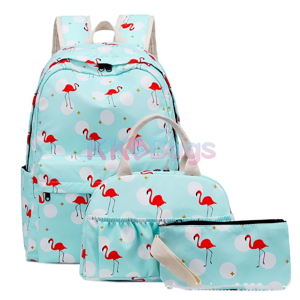 06a64020271c School Backpack set for Teen Girls Backpack Cute Flamingo Prints Bookbags  with Lunch bag Pencil Case Casual Daypack