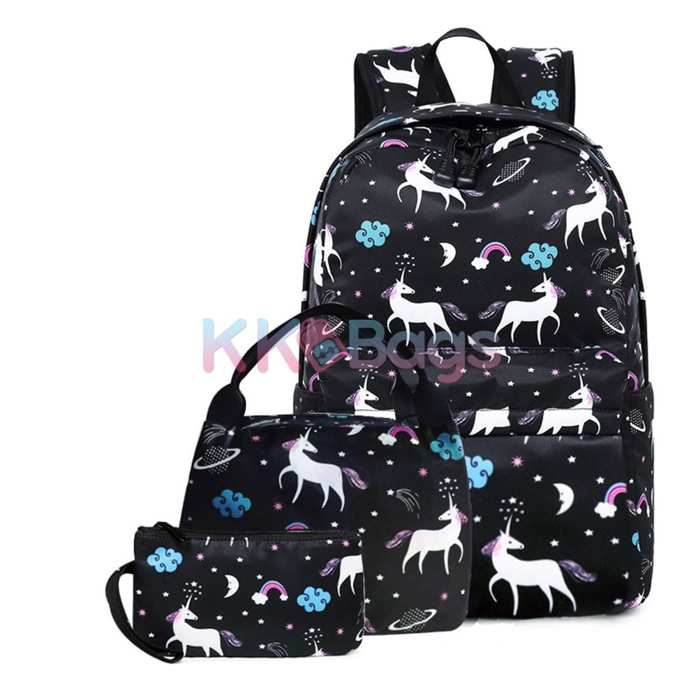 Galaxy Wolf Design Girls School Backpacks Insulated Lunch Bag Pen Case Value Lot