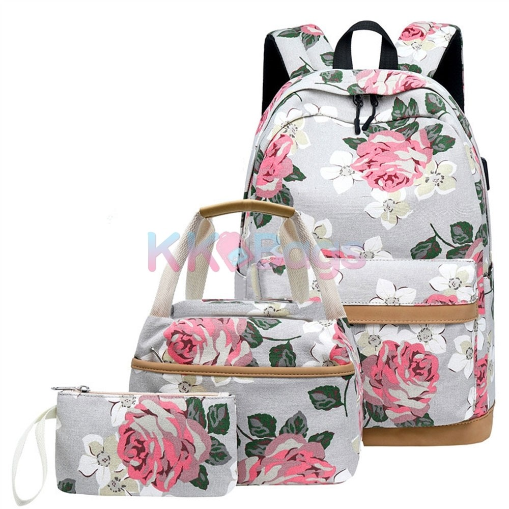 3 Pcs Backpack Set S Fl Print School Bags Usb Laptop Daypack Portable Lunch Purse