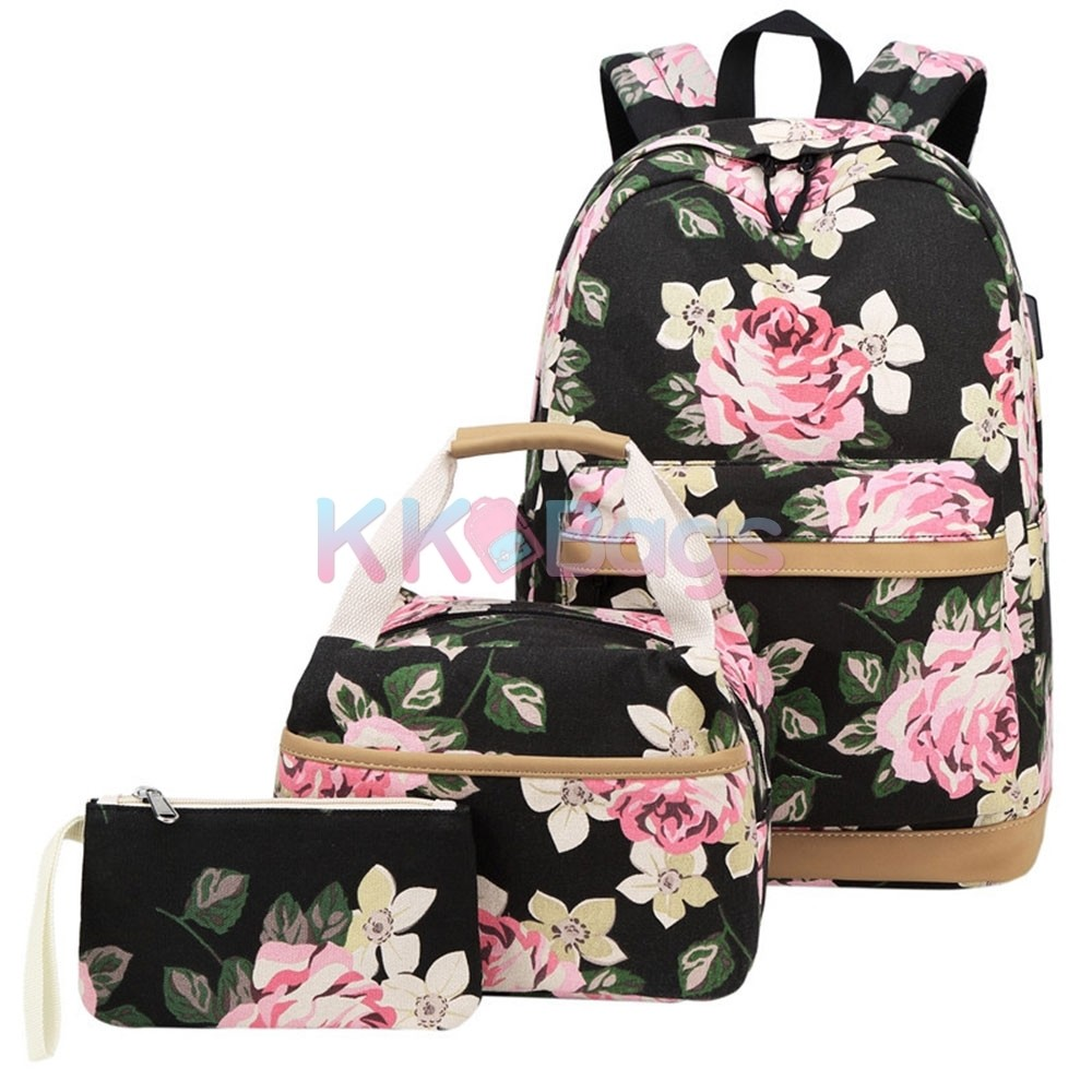 Waterproof Flower Print Bag with Lunch Bag for Gifts,Girls 3pcs School Backpacks