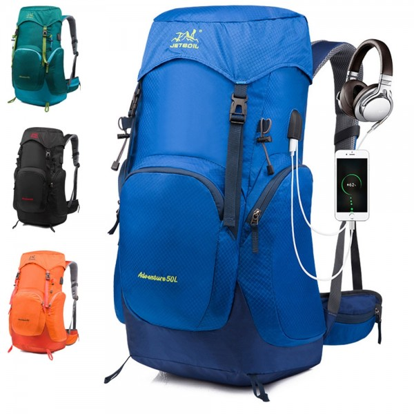Big Outdoor Hiking & Camping Backpack with USB Charging Port Rain Cover Included