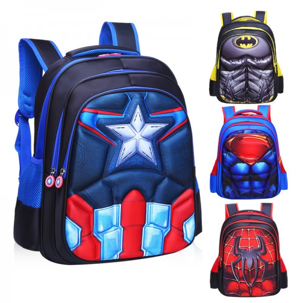 Primary School Backpack Character 3D Boys School Bag Lightweight Waterproof Bookbag