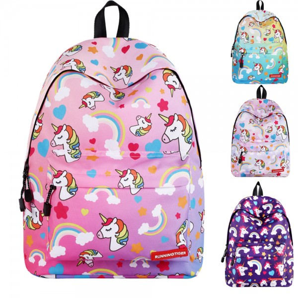 Elementary Children's Cute Unicorn Printed Ourdoor Travel Backpack