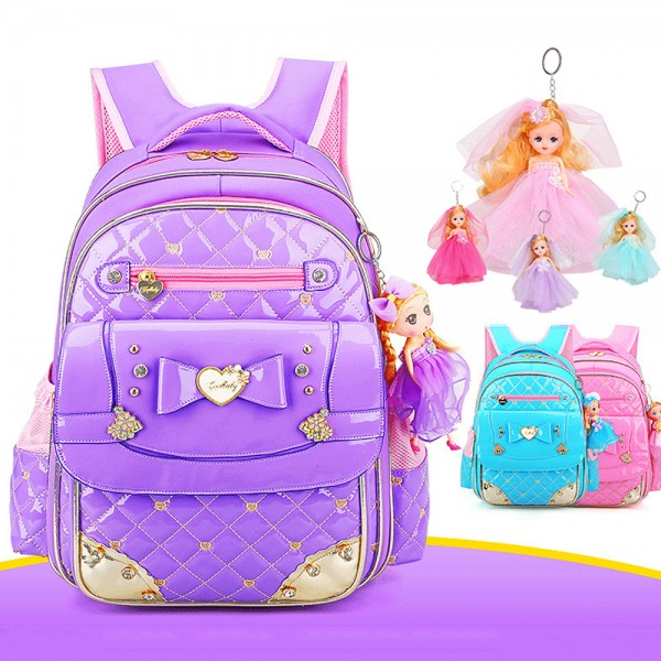 Cute Princess Style Bowknot Design Durable Backpack for Primary Girls