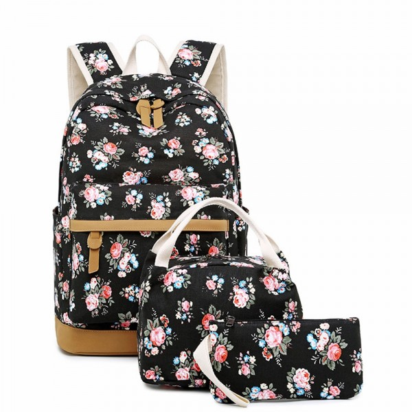 3 Pcs Floral School Rucksack Backpack Set Lunch Bag Pencil Case Canvas Casual Daypack