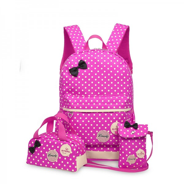 Girl 13.5L Dot Printed Backpack Lunch Bag Purse School Bag 3 in 1 Sets for Primary School