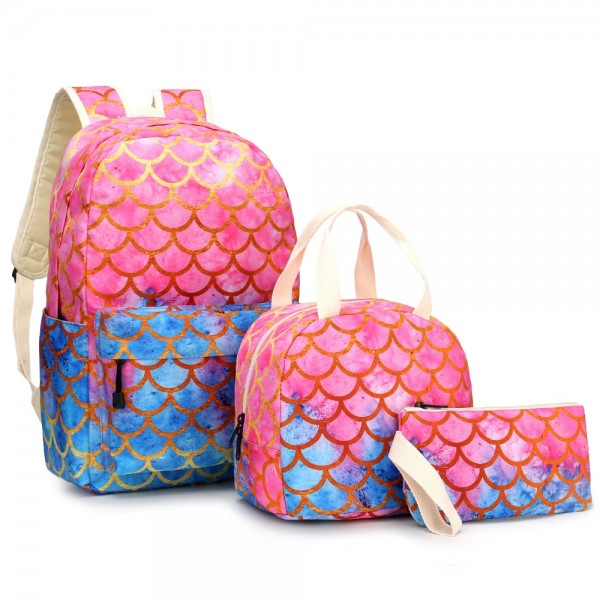 Mermaid Backpack Set with Lunch Box Fun Animal Printing 3 in 1 Bookbag Lunch Bag Pencil Case