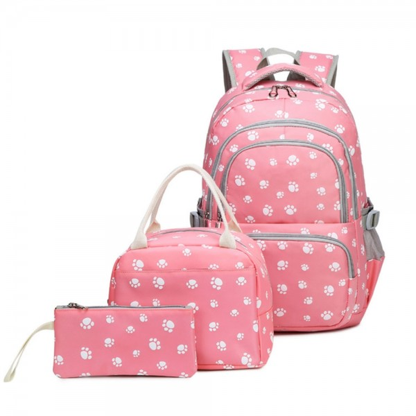 Lovely Dog Paw Prints Junior Schoolbag Bookbag for Teens Girls Primary School Backpack Set with Lunch Bag