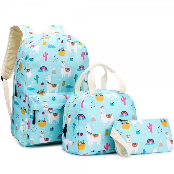 Fun Alpaca Backpack Set for Middle School Cute Bookbag with Lunch Box Pencil Case
