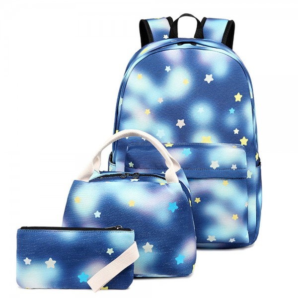Cute School Cartoon Star Prints Backpack 3 in 1 Bookbags for Teens Top Level