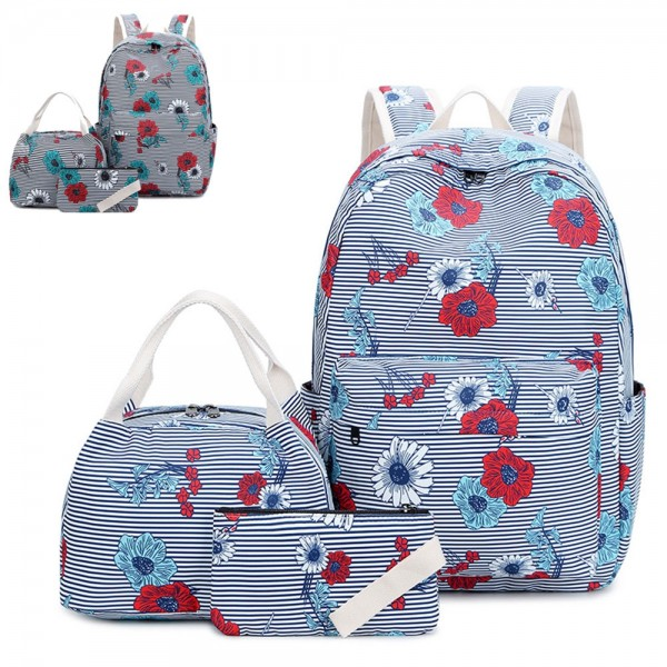 Ethnic Floral Backpack Set for Girls High School Bookbag Lunch Box and Pencil Case
