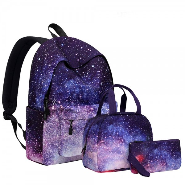 KKbags Fashion Galaxy School Backpack Set Lunch Bag & Pencil Case Top Level
