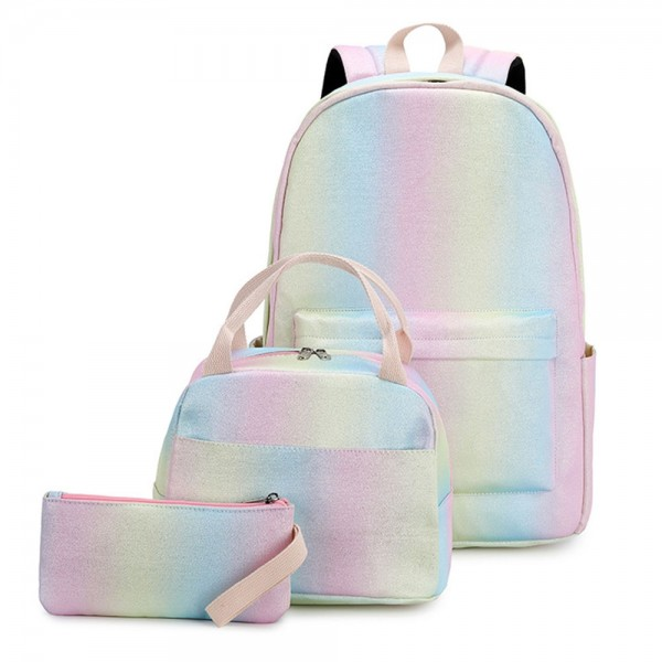 Cute Candy Color Oxford Backpack Set Waterproof Bookbag with Lunch Box Pencil Case