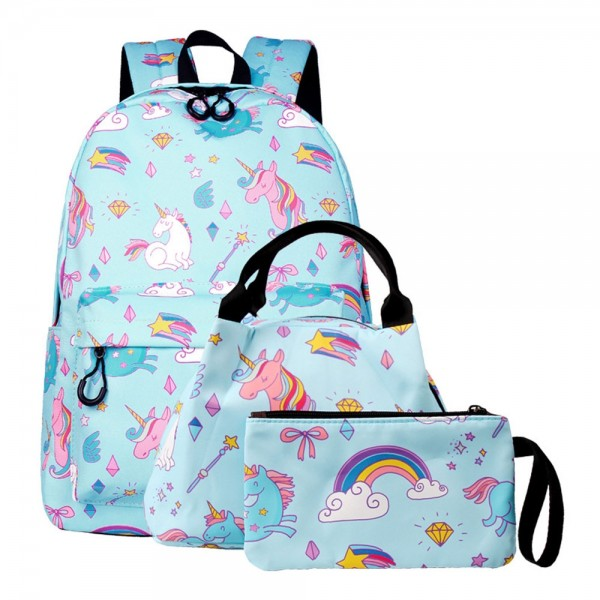 Unicorn Backpack Set for School Teens Waterproof Bookbag with Lunch Bag Pencil Case