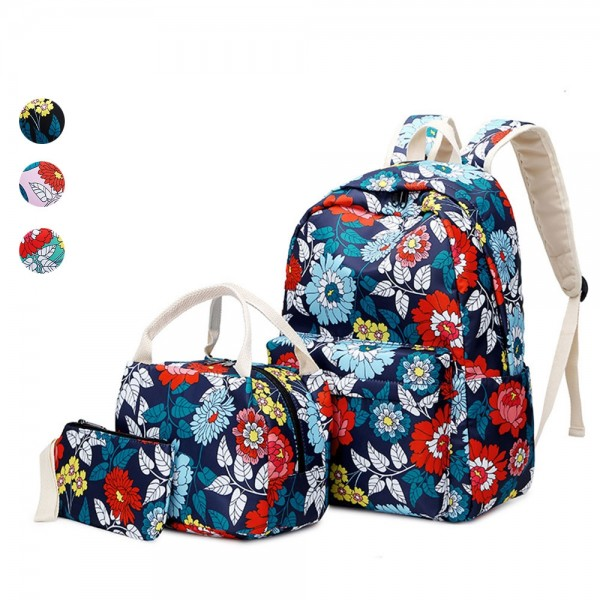Ethnic Style 3 Pieces Backpack Set Nylon Floral Schoolbag Girl Waterproof Travel Bag with Lunch Bag