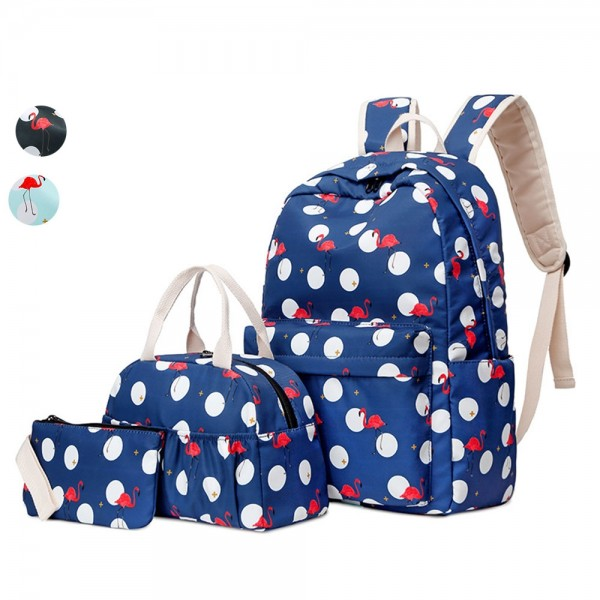 School Backpack set for Teen Girls Backpack Cute Flamingo Prints Bookbags with Lunch bag Pencil Case Casual Daypack
