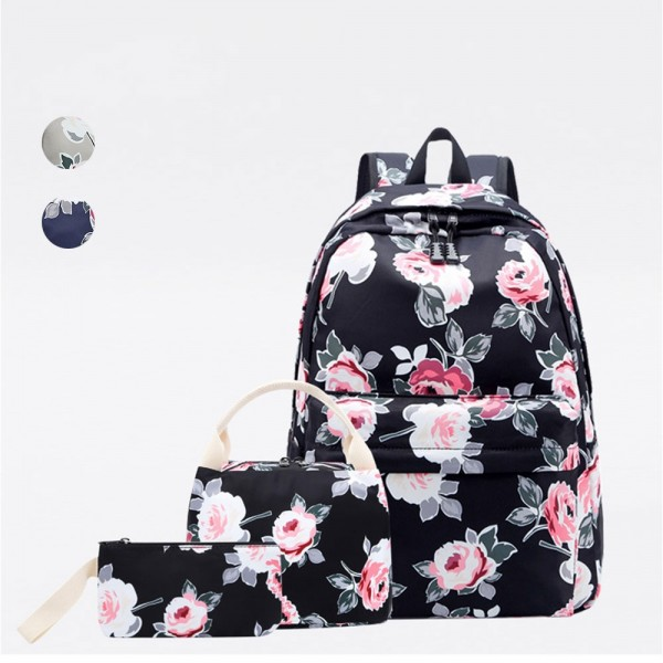 Backpack for Girls, Floral School Laptop Knapsack Lunch Bag Pencil Case 3 Pcs Set