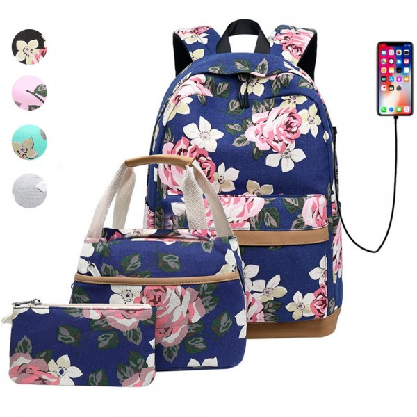 3 Pcs Backpack Set Teen Girls Floral Print School Bags USB Laptop Daypack Portable Lunch Bags Purse