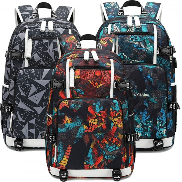 Adult Floral Backpack with USB Charging Port Large Capacity Travel Bag Fits 18