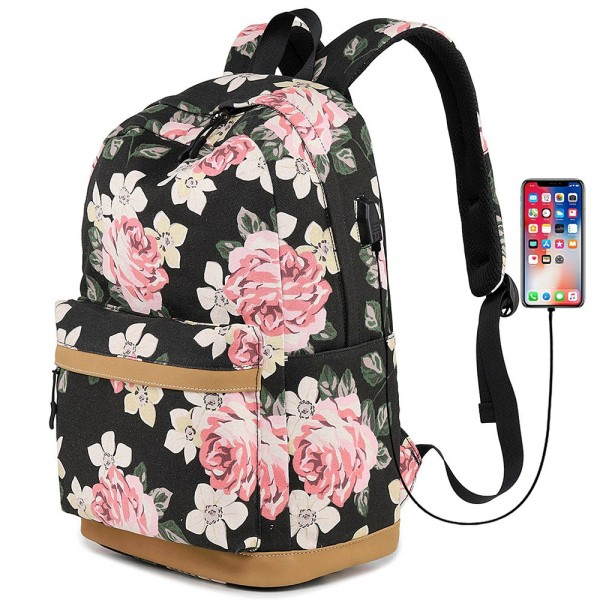 Girly Casual Floral Pattern Canvas Backpack
