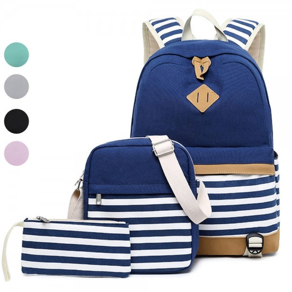 Teens Trendy Backpack Sets Women's Stripe Bookbag, Crossbody Bag and Pencil Case