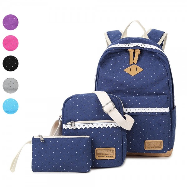 Cute Three-piece Dot Printed Canvas Travel Backpack Girls Schoolbag Shoulder Bag with Pencil Case