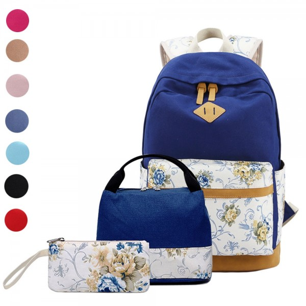 School Backpacks for Teen Girls Lightweight Canvas Bookbags Set with Lunch Bag & Pencil Case