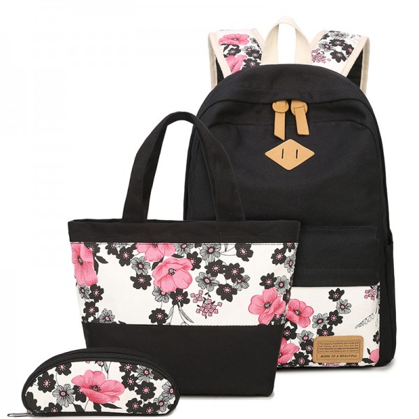 Black Floral Printed School Backpack Sets with Lunch Bag and Pencil Case