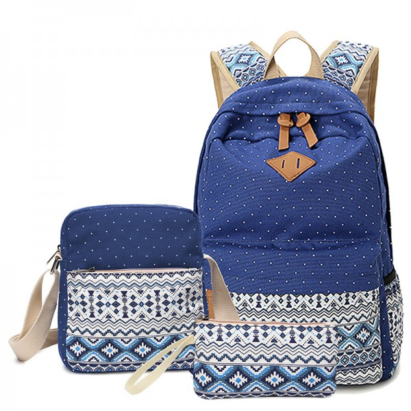Trendy 3 pieces/set Package Ethnic Style Backpack Durable Daypack for Women
