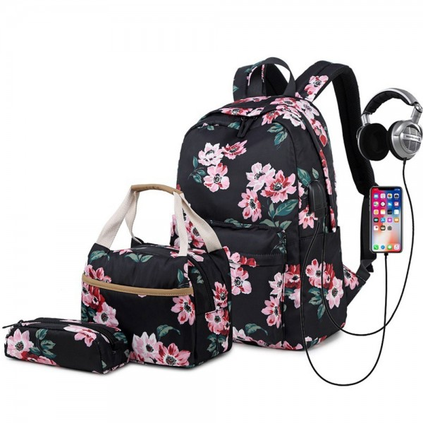 College Backpack Set with USB Charging Port for High School Floral Prints Backpack with Lunch Bag Pencil Box