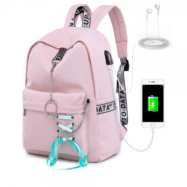 Classical Teens Drawstring Backpack Waterproof Campus Travel Bag for College with Charging Port