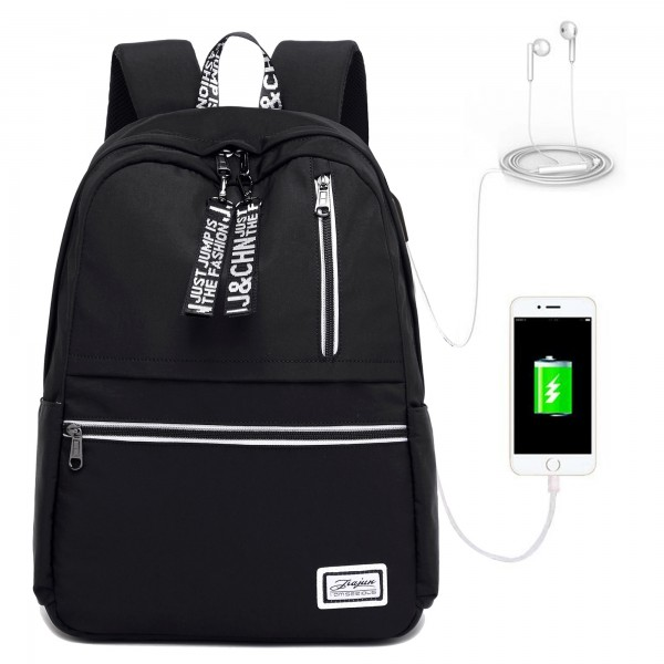 School Backpacks for Girls with USB Charging Port Book Bags Black/Pink/Grey