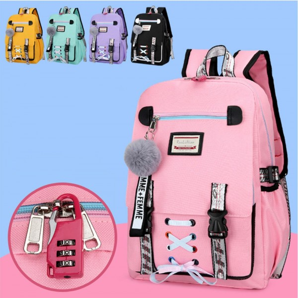 School Backpack with USB Charging Port  Anti-theft  Large Capacity Sports Travel Bag Girls Bookbag Schoolbag