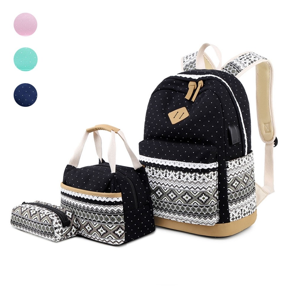 Women Backpack Schoolbag for Girls Teenagers Backpack Female Shoulder Crossbody Bag Purse for Coins 3 Set Purple 17 Inches